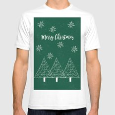 Merry Christmas Green MEDIUM White Mens Fitted Tee