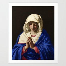 The Virgin in Prayer by Giovanni Sassoferrato (c. 1645) Art Print