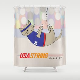 USA String - Home to Gobi and the Great Cat Athletes Shower Curtain