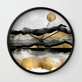 Golden Spring Moon Wall Clock