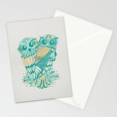 Owls – Turquoise & Gold Stationery Cards