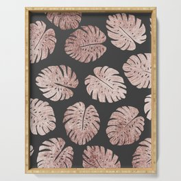 Chic Elegant Rose Gold Swiss Cheese Plant Leaves Serving Tray