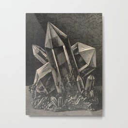 Crystals Ink Illustration Popular scientific recreations in natural philosophy-1883 Metal Print