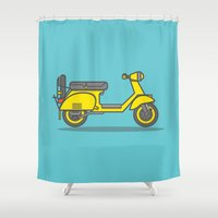 vespa Shower Curtains featuring Vespa by Kemal