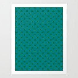 Cadmium Green on Teal Green Stars Art Print