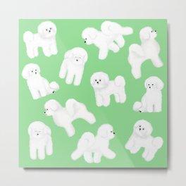Bichon Frise Pattern (Green Background) Metal Print
