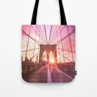 brooklyn bridge Tote Bags featuring Brooklyn Bridge  by Vivienne Gucwa
