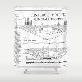 Historic Bridges - Generals Highway, Three Rivers, Tulare County, CA Shower Curtain