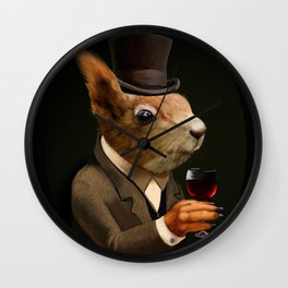 Sophisticated Pet -- Sqirrel in Top Hat with glass of wine Wall Clock