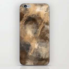 Stormy Abstract Art in Brown and Gray iPhone Skin