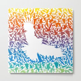 Abstract rainbow predator bird and its prey Metal Print