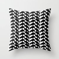 crow Throw Pillows featuring Crow by Emmanuelle Ly
