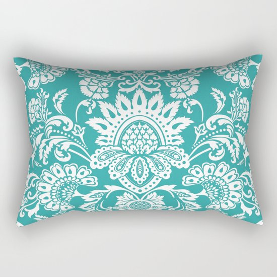 Damask in emerald Rectangular Pillow