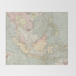 Vintage Map of Indonesia and The Philippine Ports (1905) Throw Blanket