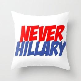 Never Hillary (White) Throw Pillow
