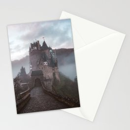 medieval castle surrounded by mist Stationery Cards