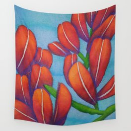 Botanical Painting with Reds and Blues Wall Tapestry