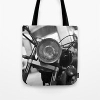 motorcycle Tote Bags featuring Motorcycle by James Tamim