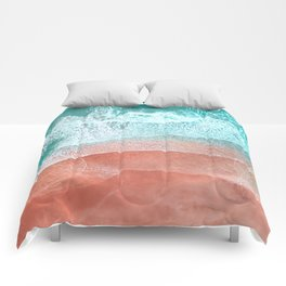 The Break - Turquoise Sea Pastel Pink Beach II Comforters