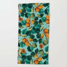 Peach and Leaf Pattern Beach Towel