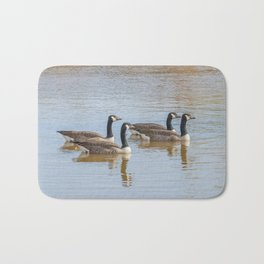Canadian geese in the lake autumn (Branta canadensis) Bath Mat