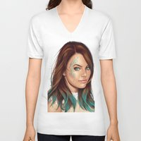 turquoise V-neck T-shirts featuring Turquoise by Lara Cremon