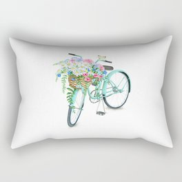 Vintage Aquamarine Bicycle with Flower Basket Rectangular Pillow