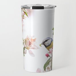 Little bird in beautiful flowering tree  worm in mouth Travel Mug