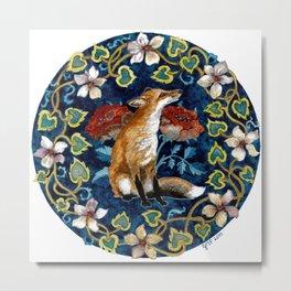 Fox and Flower Tapestry Original Watercolor Metal Print