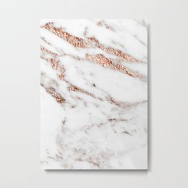 Rose gold foil marble Metal Print