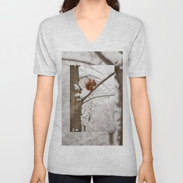 Squirrel sitting on twig in snow Unisex V-Neck