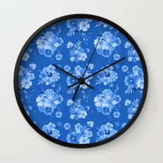 Breathe // Blue Floral Repeat Wall Clock