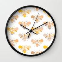 bees Wall Clocks featuring Bees by Heleen van Buul