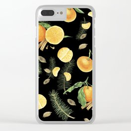 Tangerines and spices on black background Clear iPhone Case