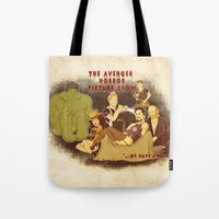 rocky horror picture show Tote Bags featuring The Avenger Horror Picture Show by Leigh Lahav