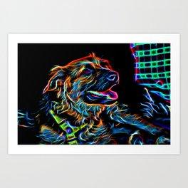 Neon Dog Art Print