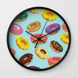 Donuts Pattern Kitchen Home Decor Sky Blue Art Print Donuts Poster Decoration Cartoon Graphic Design Wall Clock