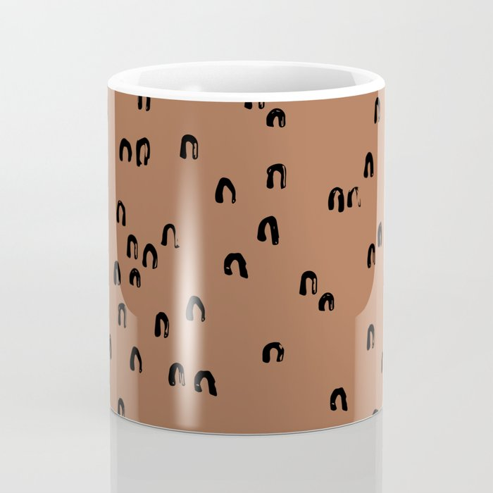 Minimal ink pattern abstract lucky rainbow brush copper Coffee Mug