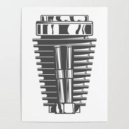 Motorcycle engine cylinder in design fashion modern monochrome style illustration Poster