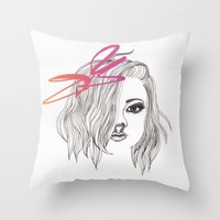 bow Throw Pillows featuring Bow by spllinter