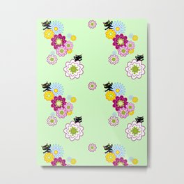 Floral Cats on Mint Metal Print