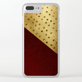 Red Leather look & gold polka Clear iPhone Case