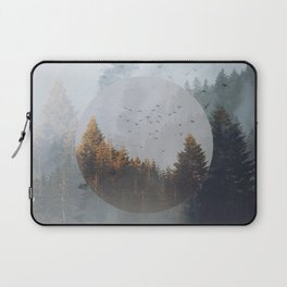 Fog forest geometrical circle collage Laptop Sleeve