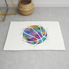 Basketball Watercolor Art Print Sports Poster Home Decor Kids Room Sports Painting Nursery Decor Rug