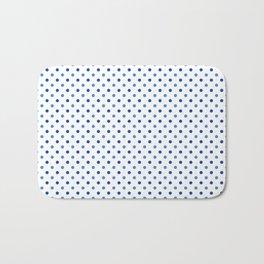 Geometrical trendy navy blue white polka dots pattern Bath Mat