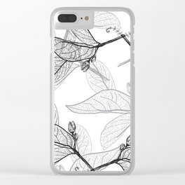 Leaves contours on a white background. floral seamless pattern, hand-drawn Clear iPhone Case