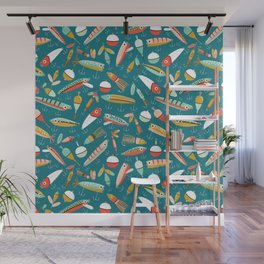 Fishing Lures Blue Wall Mural