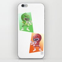 power rangers iPhone & iPod Skins featuring Mighty Fightin' Power Rangers by garciarts