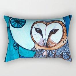 Barn Owl Art Nouveau Panel in blue Rectangular Pillow