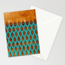 Copper Metal Foil and Aqua Mermaid Scales- Abstract glitter pattern Stationery Cards